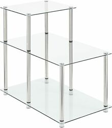 Convenience Concepts Designs2go Classic Glass 3 Tier Step End Table