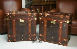 English Leather Pair Of Occasional Side Table Trunk And Chests Antique Leather New
