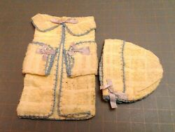 Vintage Yellow Terry Cloth Washcloths Baby Layette Pot Holders Crocheted Edges