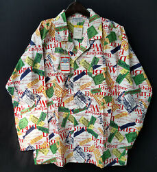 Vintage 80s 90s Nos Budweiser All Over Print Long Sleeve Shirts Size M - Rare
