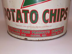 Vintage Crispy Fresh Up -to-date Potato Chip Advertising Can Norwood Ohio-...