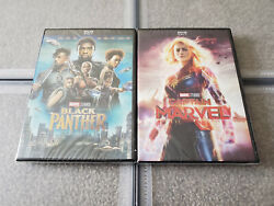 Black Panther and Captain Marvel DVD 2 Movie Bundle Brand New