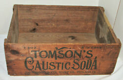 Vintage Tomson's Caustic Soda Wood/wooden Shipping Crate Lye 28x20x10 Antique
