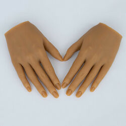 Silicone Nail Practice Hands 11 Mannequin Female Model Display Yellow Skin