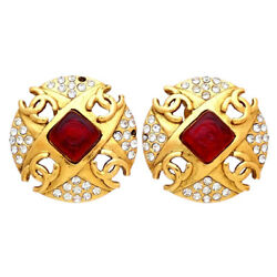 Authentic Vintage Clip On Earrings Cc Logo Red Stone Rhinestone Ea3081