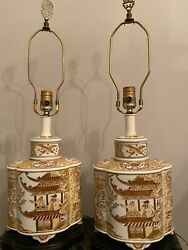 Pair Of Antique Chinese Porcelain Ginger Jar Table Lamps