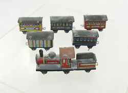 Japan - Tin Penny Toy Train - Engine-tender And 5 Cars