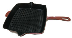 """Vintage Staub France 12"""" Red Square Skillet Grill Fry Pan Cast Iron Enamel"""