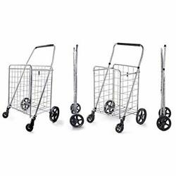 Wellmax Grocery Shopping Cart With Swivel Wheels Medium Size And Large Size