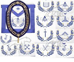 Masonic Hand Embriodered Blue Lodge Aprons Real Leather With Chain Collar Set
