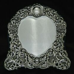 Antique Silver Heart Shaped Table Mirror By Goldsmith And Silversmiths