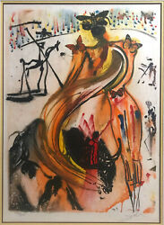 Salvador Dali —rare— Hand Signed — Butterfly Bullfighter — Numbered 135/250