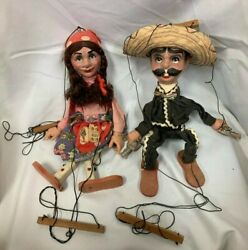Hispanic Mexican Couple 2 Man And Woman Handman Marionette Puppets