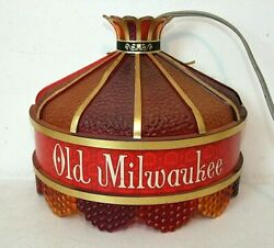 Vintage Old Milwaukee Ruby Beaded Stained Glass Style Wall Light Sconce Bar Beer