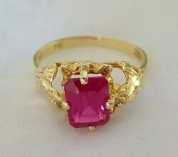 Vintage 14k Yellow Created Ruby Solitaire Ring - 2.5 Grms Size 6.75 1.25 Ctw