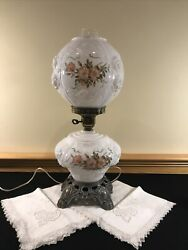Embossed Puffy Roses Pink Flowers Gwtw Hurricane Milk Glass Lamp 3 Way Switch