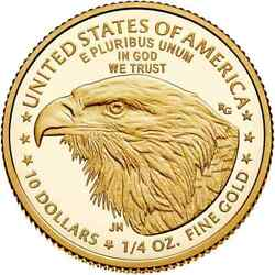 2021-w American Eagle Gold Proof Coin 1/4 Oz Type 1 And 2 2 Coins In Hand