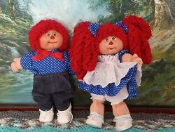 Vintage Cabbage Patch Kids Doll Rerooted Costume Raggedy Anne And Andy