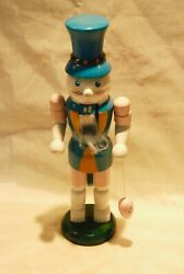 Vintage Wood Blue Easter Bunny Rabbit Nutcracker W Top Hat And Egg 11 Tall