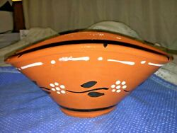 Portugal Hand Painted Clay Terracotta Red Earthenware Oval Basket Bowl Vintage
