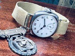 1903 Elgin Us Marine Corps Silver Officerandrsquos Wrist Watch Military Band Keeps Time