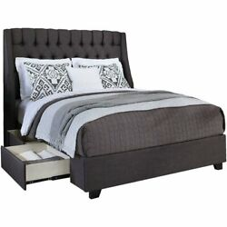Cambridge Fabric Upholstered Steel-core Platform Cal. King Bed/2-drawers Gray