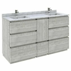Fresca Stella 60 Double Bathroom Cabinet W/ Top And Sinks In Ash Gray