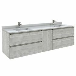 Fresca Stella 72 Wall Hung Double Bathroom Cabinet W/ Top And Sinks In Ash Gray