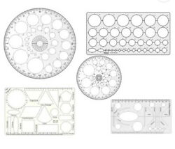 Stationery Plastic Geometry Template Circle Master Drafting Scale Ruler Free S