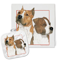 American Staffordshire Terrier Amstaff Kitchen Dish Towel and Pot Holder Gift Se