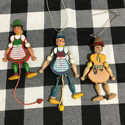 Vintage Wooden Austrian String Pull Toys Famo Set Of 3 Need Tlc Ornaments