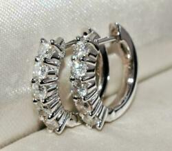 2ct Round Diamond Birthday In 925 Sterling Silver Hoop Earring Gifts For Women