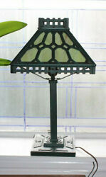 Antique Bradley And Hubbard Slag Glass And Cast Iron Lamp Mission Style