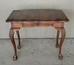 Antique 19c Hand Carved Side Table Desk With Center Drawer Ball And Claw Leg