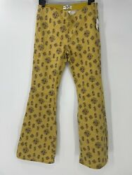 Free People Float On Flate Size 30 Yellow Printed Flare Jeans