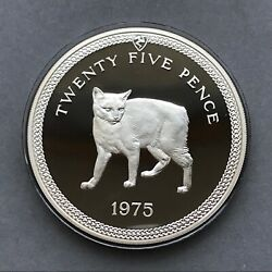 Isle Of Man Silver Coin 25 Pence 1975 Proof