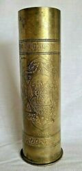 Antique Ww1 German 1916 Trench Artillery Shell Casing Sp255 Fried Kruppa Ag 11