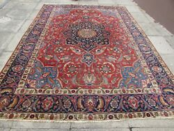 Antique Traditional Hand Made Vintage Oriental Wool Red Carpet 345x248cm