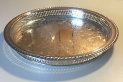 Vintage Wm Rogers Round Silverplate Reticulated 12andrdquo Gallery Tray 671
