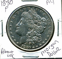 1880 P Au Morgan Dollar 100 Cent About Uncirculated 90 Silver Us 1 Coin 827