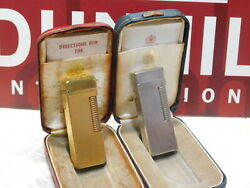 Lot Of 2 Dunhill Vintage Rollagas Gas Lighter Gold Silver Vol.3