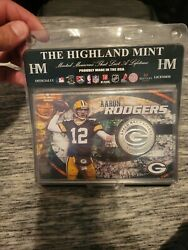 The Highland Mint Green Bay Packers Aaron Rodgers Silver Plated Medallion/coin