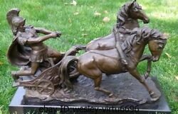 Western Bronze Marble Art Deco Sculpture Roman Soldiers Two Horse Chariot Statue