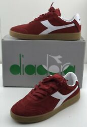 Diadora Kick 173100-45005 Mens Red Suede Lace Up Lifestyle Sneakers Shoes 10