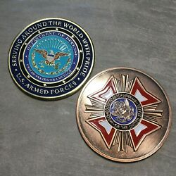 United States Dod-vfw War Veterans Challenge Coin Set Of 2-large 2 Coins