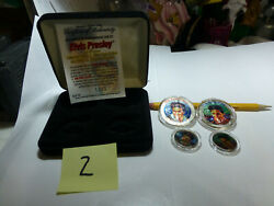 Elvis Colorized Coin Set 2 2002 American Silver Eagles And 2 Tenn. Quarters