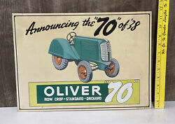 Oliver 70 Metal Embossed Sign Farm Tractor Agriculture Diesel Gas Oil Equipment
