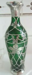 Vintage Alvin Art Nouveau Style Green And Sterling Silver Overlay Glass Vase