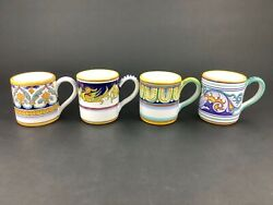 Deruta Italy Blue Yellow Majolica Hand-painted For Fiori Set Of Four 4 Mugs