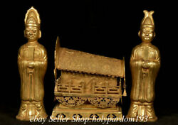 11 Old Chinese Bronze 24k Gold Gilt Dynasty Human Emperor Coffin Statue Set